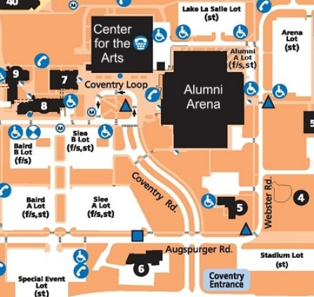 Map of UB North Campus. Centered Over Alumni Arena and the Center for the Arts.